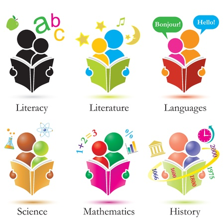 Illustration for Vector Study Together Icons Set - Royalty Free Image