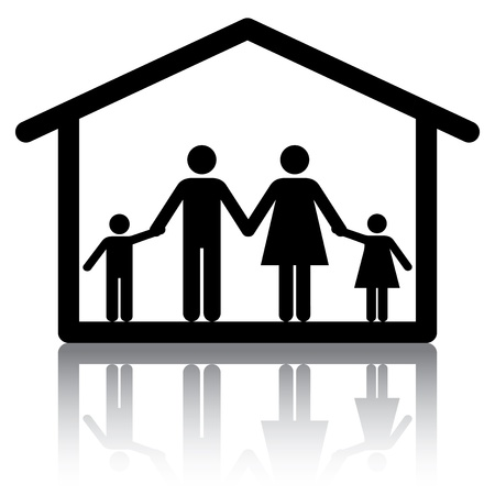 Family holding hands inside a home.  Conceptual image or icon for subjects related to family home and housing.