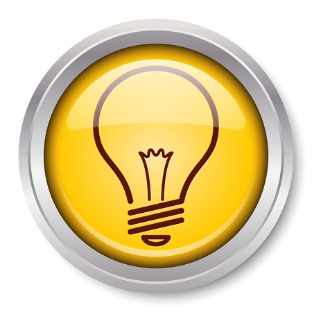 Light Bulb Icon Glossy Metallic Button