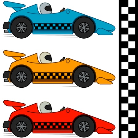 Illustration pour Racing cars and Finishing Line, Isolated, No Gradients - image libre de droit