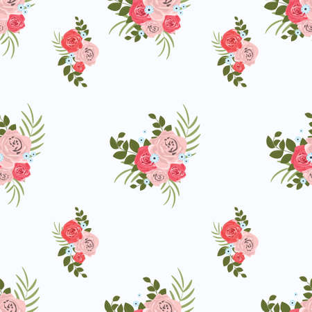Photo pour Pattern of bouquets of roses. Plant design for fabric, cloth design, covers, manufacturing, wallpapers, print, gift wrap and scrapbooking, banner, poster, card, invitation and scrapbook. Vector illustration. - image libre de droit