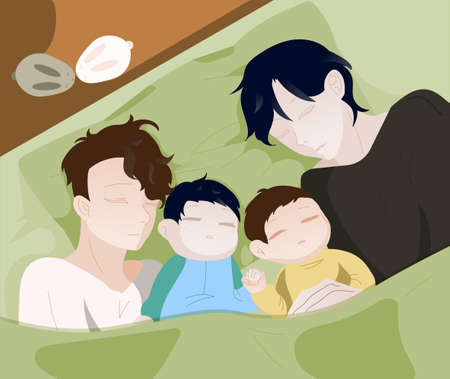 Illustration pour Gay is a couple with their children. Family morning. Fathers with their children. Happy Family Day. LGBT people. Vector illustration. - image libre de droit