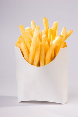 french fries in white box. big size