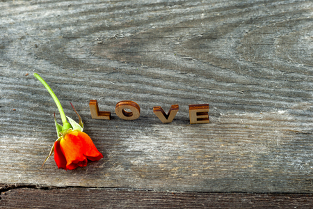 Photo for Four rustic alphabet blocks spelling out Love with red rose on wood - Royalty Free Image
