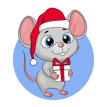 Illustration pour Cute cartoon mouse mouse in a santa hat with a gift. New Year greeting card, vector illustration - image libre de droit