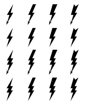 Black thunder lighting bolt Icons, vector