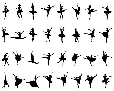 Illustration pour Black silhouettes of ballerinas on white background, vector - image libre de droit