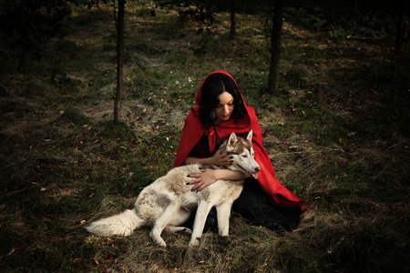 Photo pour red riding hood and the wolf outdoor in the wood - image libre de droit