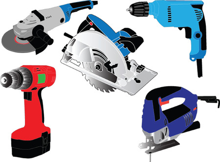 electric hand tools collection - vector