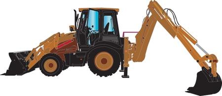 Excavator Machine sillhouette ilustratition