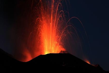 dawn eruption at Stromboli volcano Italy