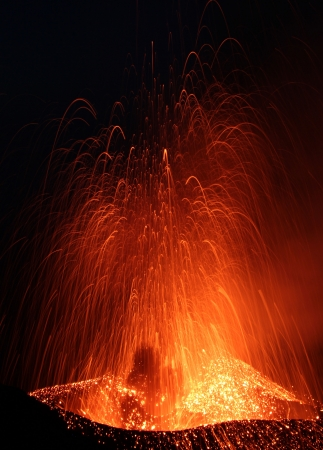 Close view to an eruption volcano Stromboli