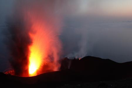 Strombolian eruption at volcano Stromboli in Italy