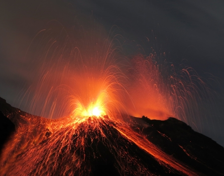 Strombolian eruption at volcano Stromboli in Italy