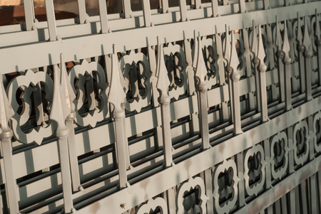 Cast iron fence with spears, prepared for painting,