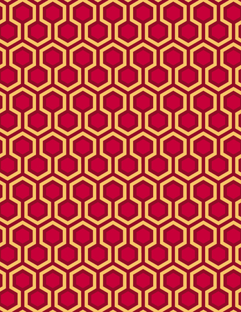 Red seamless Hexagon pattern style background and honeycomb pattern vector illustration