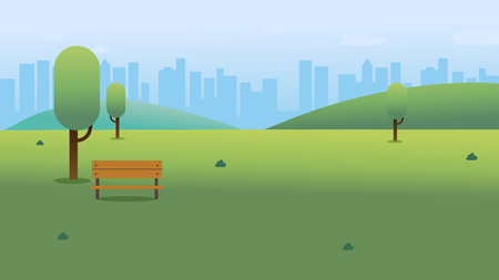 Illustration pour Public park with bench in city with sky and cityscape background.Beautiful nature scene with town and hill.Clean spring scenery. Vector illustration - image libre de droit