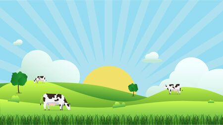 Illustration pour Meadow landscape with cow eating grass, vector illustration.Green field and sky blue and sun shine with white cloud background.Beautiful nature scene with sunrise.Cow with natural scene. - image libre de droit