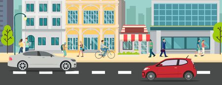Cityscape with people walking and car on street vector illustration.Business buildings and business man walk.Urban city with car on road.Business town scene
