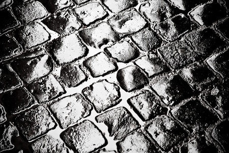 wet old cobblestone road in old town