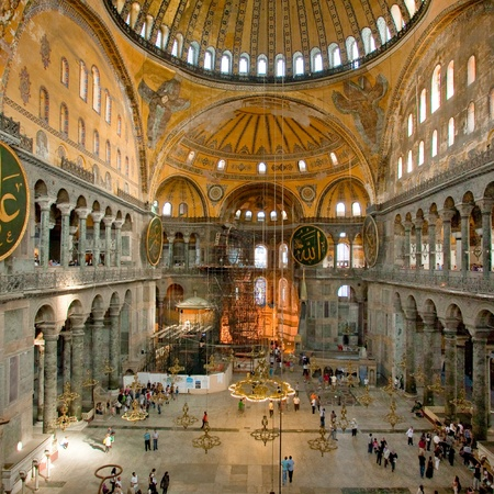 Interior of Aya Sophia - ancient  Byzantine basilica on September 10, 2010 in Istanbul, Turkey