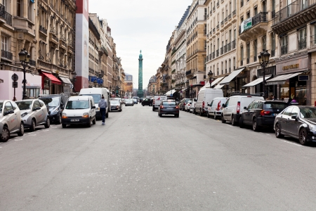 PARIS, FRANCE - MARCH 5: view of Vendome column from Rue de la Paix. The street was opened in 1806 from Place Vendome on the orders of Napoleon I, in Paris, France on March 5, 2013