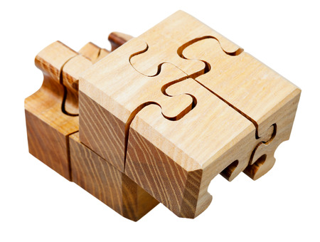three dimensional wooden mechanical puzzle close up