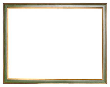 old narrow green wooden picture frame with cut out canvas isolated on white