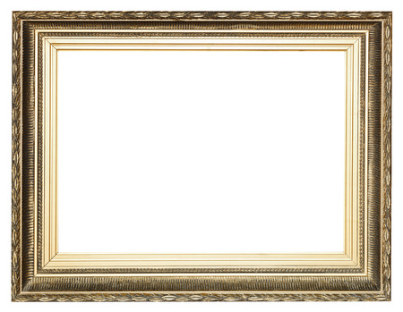 big wide golden ancient wooden picture frame with cut out canvas isolated on white