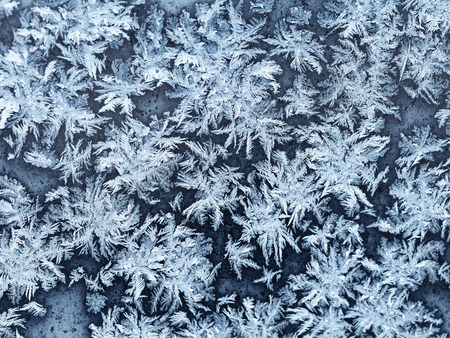 snowflakes and frost pattern on window pane in cold winter evening close up