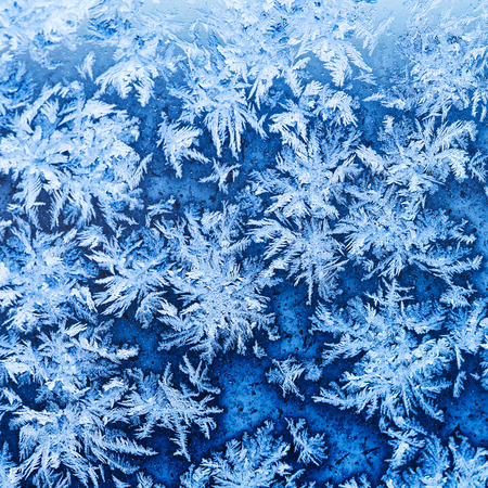 snowflakes and frost pattern on window glass in cold winter evening close up