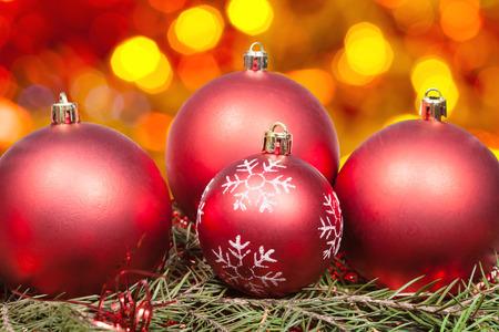 Xmas Still Life Red Balls At Green Tree With Blurred