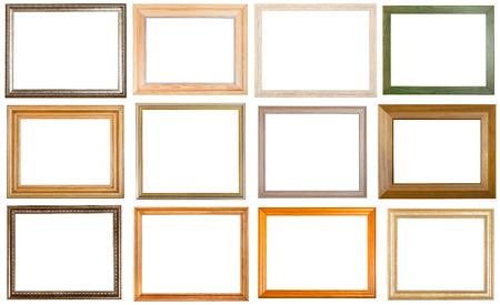 Photo for set of 12 pcs various wooden picture frames with cut out blank space isolated on white background - Royalty Free Image