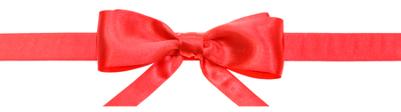 narrow red satin ribbon with real bow with horizontal cut ends isolated on white background