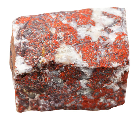 Photo for macro shooting of collection natural rock - red jasper mineral stone isolated on white background - Royalty Free Image