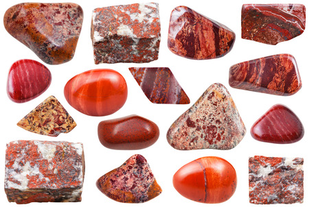 Photo for set of natural mineral stones - specimens of red jasper tumbled gemstones and rocks isolated on white background - Royalty Free Image