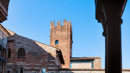 travel to Italy - view of abbey tower rom Basilica di San Zeno (San Zeno Maggiore, San Zenone) in Verona city in spring