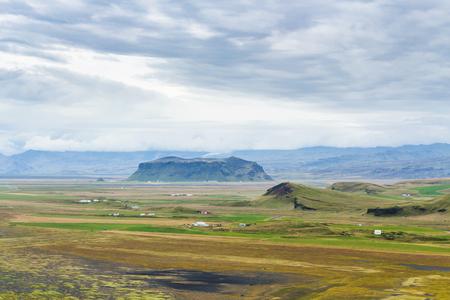travel to Iceland - above view of Solheimafjara volcanic coast from Dyrholaey promontory near Vik I Myrdal village on Atlantic South Coast in Katla Geopark in september