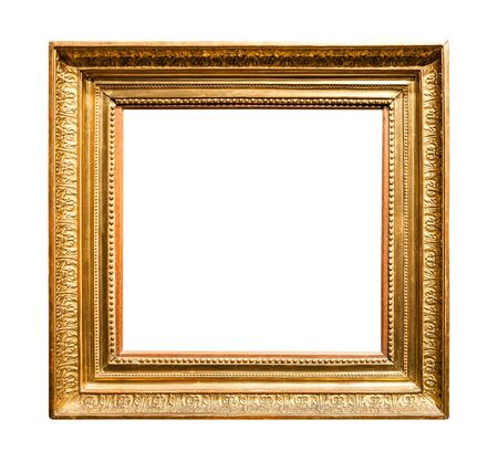 Photo pour horizontal wide old wooden painting frame with cutout canvas isolated on white background - image libre de droit