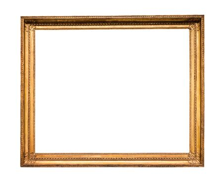 Photo pour horizontal vintage wooden picture frame with cutout canvas isolated on white background - image libre de droit