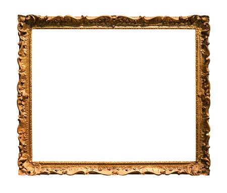 Photo pour horizontal narrow baroque wooden picture frame with cutout canvas isolated on white background - image libre de droit