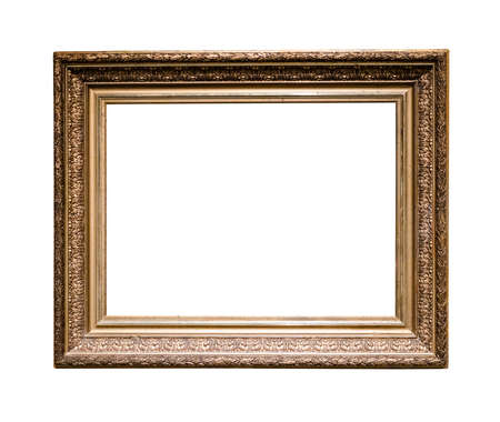 Photo pour old classic golden wooden picture frame with cut out canvas isolated on white background - image libre de droit