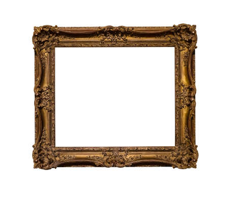 Photo pour ancient dark ornamental picture frame with cut out canvas isolated on white background - image libre de droit