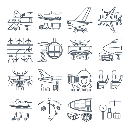 Illustration pour Set of thin line icons airport and airplane, freight, cargo aircraft - image libre de droit