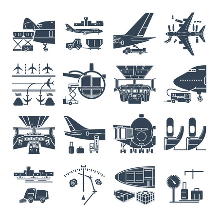 Illustration pour set of black icons airport and airplane, freight, cargo aircraft - image libre de droit