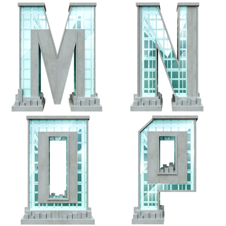 Alphabet in the form of urban buildings. Letter m, n, o, p.