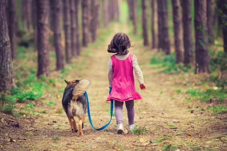 Photo pour Little girl walking with dog in the forest back to camera - image libre de droit