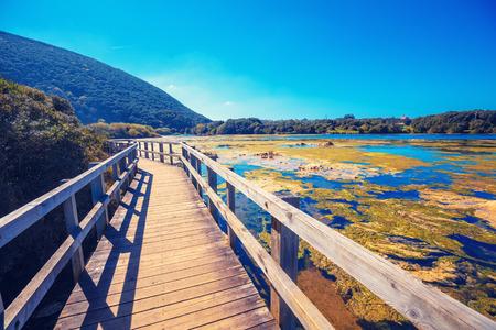 Photo pour Scenic wildlife. Wooden walking trail in the Natural Reserve (Natural Resources) Marisma de Joyel. Cantabria, Spain, Europe - image libre de droit