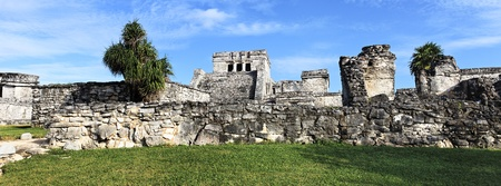 panoramic view of Tulum ruins in Mexico