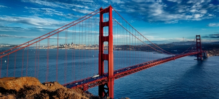panoramic view of famous Golden Gate Bridge in San Francisco California USA
